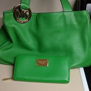 Green Michael Kors Purse and Wallet